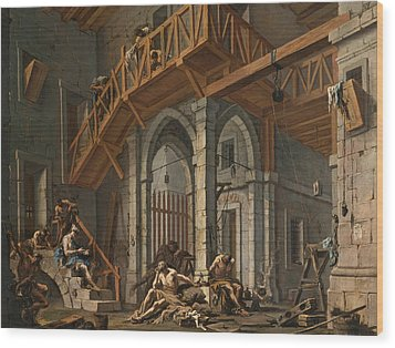 Wood Print featuring the painting Joseph Interprets The Dreams Of The Pharaoh's Servants Whilts In Jail by Alessandro Magnasco