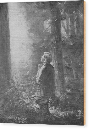 Joseph Smith Praying In The Grove Wood Print by Lewis A Ramsey