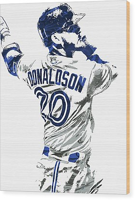 Josh Donaldson Toronto Blue Jays Pixel Art Wood Print by Joe Hamilton
