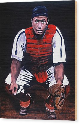 Josh Gibson - Catcher Wood Print by Ralph LeCompte
