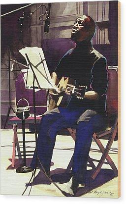 Josh White Singing The Blues Wood Print by David Lloyd Glover