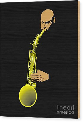 Joshua Redman Wood Print by Walter Oliver Neal
