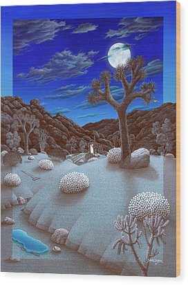 Joshua Tree At Night Wood Print by Snake Jagger
