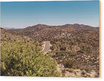 Joshua Tree Mountains And Curvy Road Wood Print