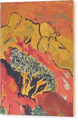 Wood Print featuring the painting Joshua Trees In The Negev by Esther Newman-Cohen