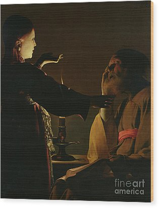 Jospeh And The Angel Wood Print by Georges de la Tour