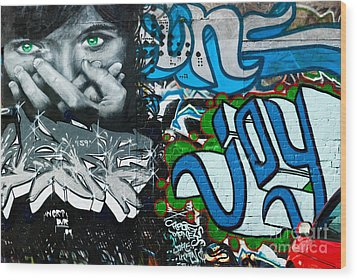 Wood Print featuring the painting Joy Graffiti Wall  by Yurix Sardinelly