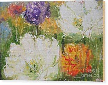 Joy With Tulips Wood Print