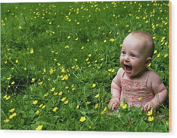 Joyful Baby In Flowers Wood Print