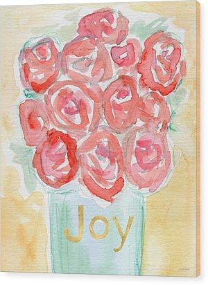 Joyful Roses- Art By Linda Woods Wood Print by Linda Woods