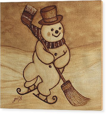 Joyful Snowman  Coffee Paintings Wood Print by Georgeta  Blanaru