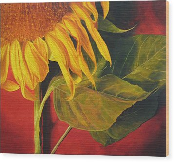 Wood Print featuring the painting Joy's Sunflower by Marina Petro