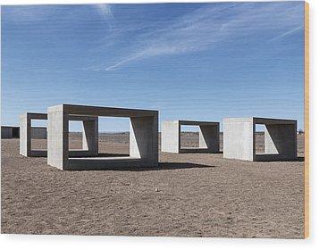 Judd's Cubes By Donald Judd In Marfa Wood Print by Carol M Highsmith