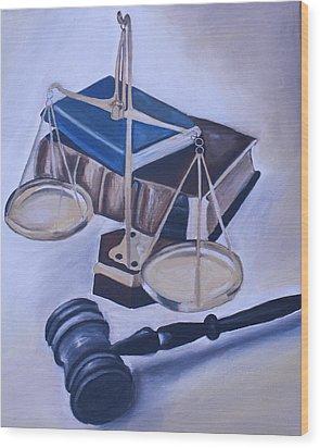 Judge Scales Wood Print by Mikayla Ziegler
