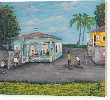 Juegos De Mi Infancia  Wood Print by Gloria E Barreto-Rodriguez
