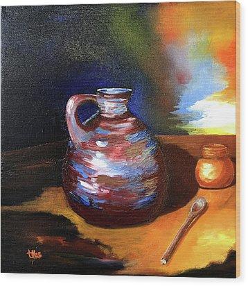 Jug Mug And Spoon Wood Print