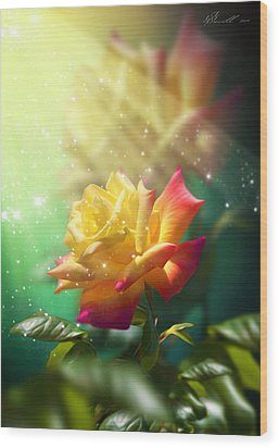 Juicy Rose Wood Print by Svetlana Sewell