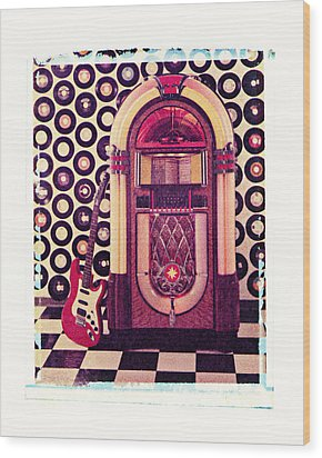 Juke Box Polaroid Transfer Wood Print by Garry Gay