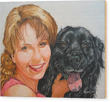 Wood Print featuring the drawing Juli And Sam by Karen Ilari