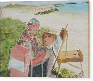 Wood Print featuring the painting Julia Painting At Boynton Inlet Beach  by Donna Walsh