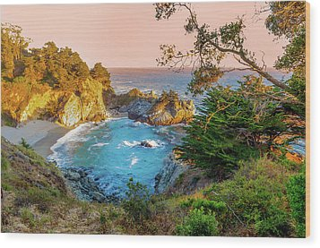 Wood Print featuring the photograph Julia Pfeiffer Burns State Park Mcway Falls by Scott McGuire