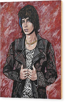 Wood Print featuring the painting Julian Casablancas Red by Sarah Crumpler