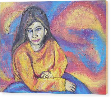 Julie In Yellow Wood Print