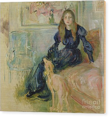 Julie Manet And Her Greyhound Laerte Wood Print by Berthe Morisot
