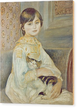 Julie Manet With Cat Wood Print by Pierre Auguste Renoir
