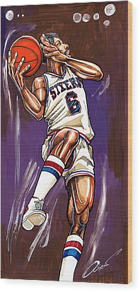 Julius Erving Wood Print by Dave Olsen