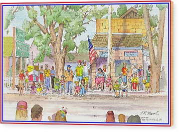 Wood Print featuring the painting July 4th 2000 by John Norman Stewart