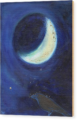 July Moon Wood Print by Nancy Moniz