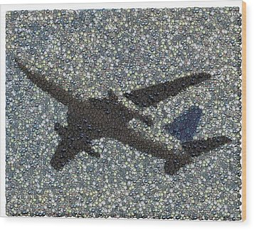 Wood Print featuring the mixed media Jumbo Jet Airplane Made Of Cockpit Panel Dials Mosaic by Paul Van Scott