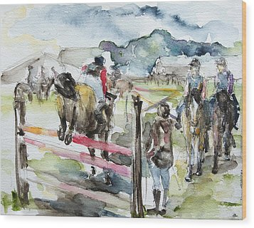 Jumping A Course Wood Print by Barbara Pommerenke