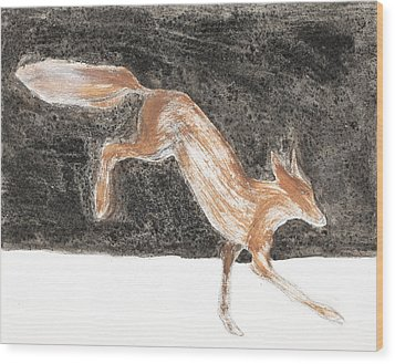 Jumping Fox In The Snow Wood Print by Sophy White