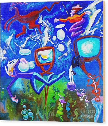Wood Print featuring the painting Jumping Through Tv Land by Genevieve Esson