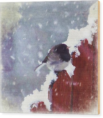 Wood Print featuring the digital art Junco In The Snow, Square by Christina Lihani