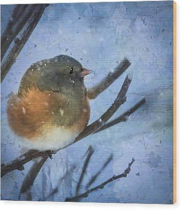 Wood Print featuring the digital art Junco On Winter Day by Christina Lihani