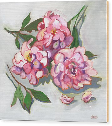Wood Print featuring the painting June Peonies by Susan Thomas