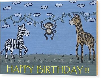 Jungle Animals Happy Birthday Wood Print