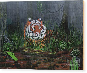 Wood Print featuring the painting Jungle Cat by Myrna Walsh
