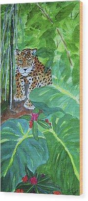 Wood Print featuring the painting Jungle Jaguar by Ellen Levinson
