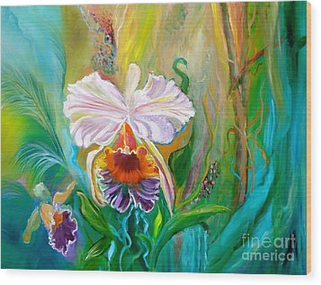 Jungle Orchid Wood Print by Jenny Lee