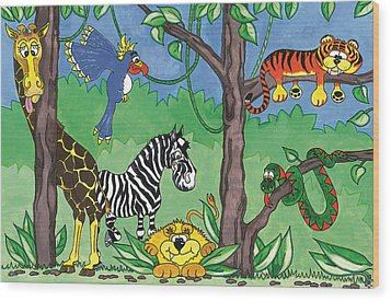 Jungle Party Wood Print by Kirsty Breaks