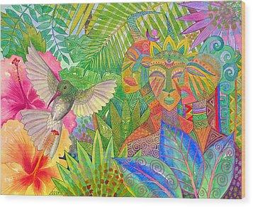 Jungle Spirits And Humming Bird Wood Print by Jennifer Baird