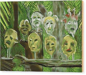 Wood Print featuring the digital art Jungle Spirits by Jean Pacheco Ravinski