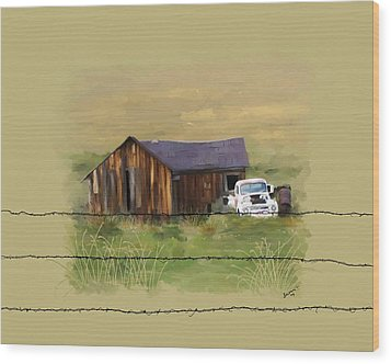 Wood Print featuring the painting Junk Truck by Susan Kinney