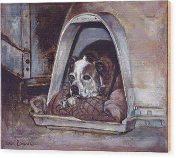 Wood Print featuring the painting Junkyard Dog by Harvie Brown