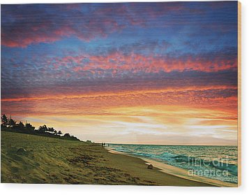Juno Beach Florida Sunrise Seascape D7 Wood Print by Ricardos Creations