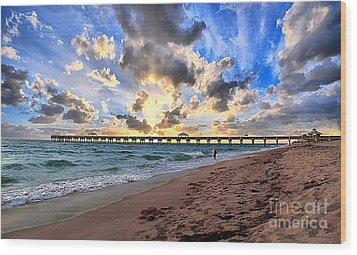 Juno Beach Pier Florida Sunrise Seascape D7 Wood Print by Ricardos Creations